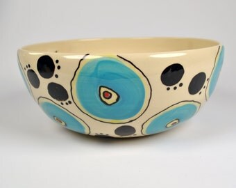 Large Ceramic Serving Bowl, Handmade Salad Bowl, Pottery Serving Bowl