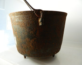 Antique Cast Iron Footed Cauldron Number 8 Rustic Cook Pot