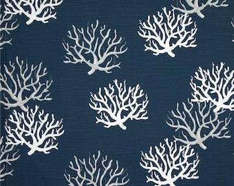 Navy Blue Curtain Panels. Isadella Coral Pattern. Beach Curtains. Nautical Blue Window Treatments.