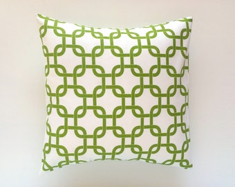 CLEARANCE 50% OFF Chartreuse Green Chain Link Pillow Cover. 18X18 Inches. Lime Throw Pillow. Green and White
