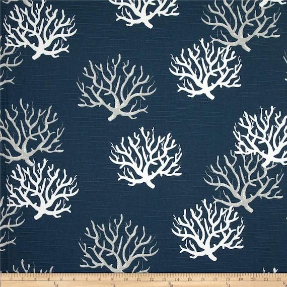 Navy Blue Curtain Panels Isadella Coral Pattern Beach