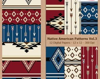 Digital Scrapbook Paper Pack - NATIVE AMERICAN PATTERNS Vol.3 - Instant Download