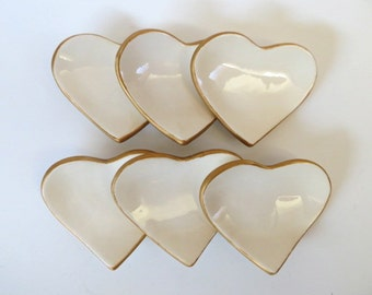 Party favors, heart ring dishes, Gold and White, wedding, engagement, birthday 1 to 100 party favors, earthenware pottery