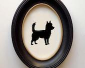 FRAMED Portuguese Podengo Pequeno Silhouette - Hand-cut Original Dog Art Design:DOG-POP01