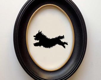 FRAMED Yorkie Silhouette - Hand-cut Original Dog Art Design:DOG-YOR03