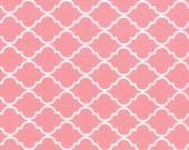 Pink and White Quatrefoil Patterned Fabric - Quattro Piccolo by Moda 1/2 Yard