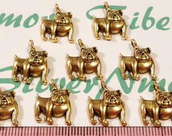 16 pcs per pack 14x16mm One side Bulldog charm Antique Gold Finish Lead Free Pewter