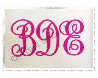 Fancy Monogram Machine Embroidery Font Alphabet - 3 Sizes