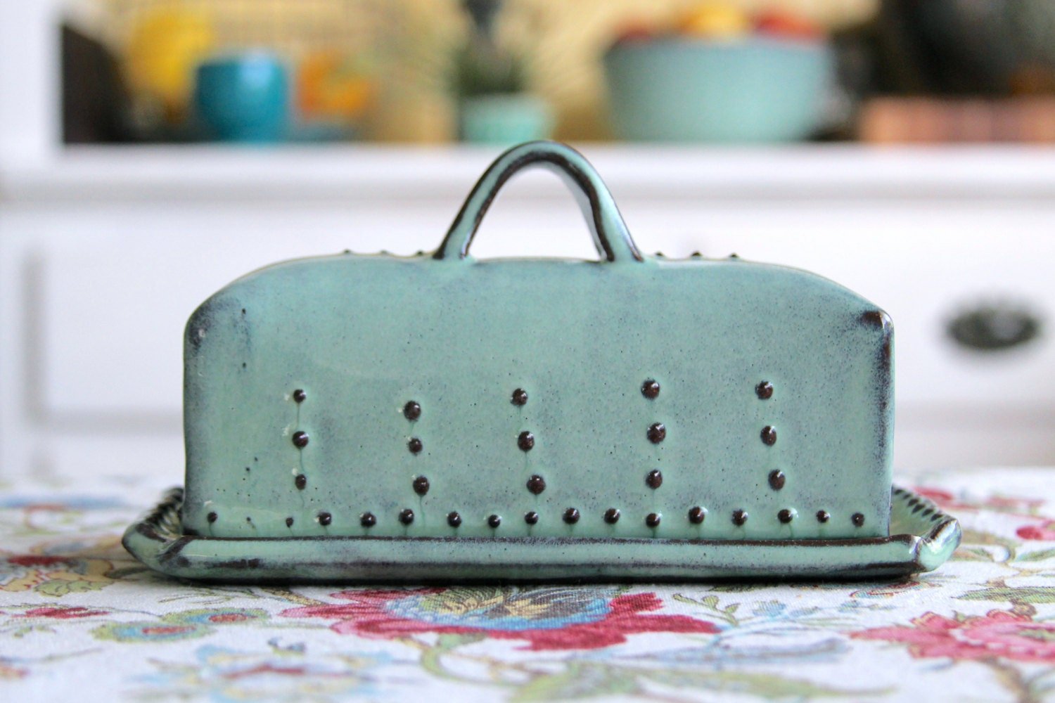 Covered Butter Dish With Lid Rustic Aqua Mist French Country Home Decor Made
