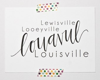 Louisville Ky Art Handlettered Print Bluegrass Home Decor Typography Print Gifts Under 20 Kentucky Art Print State Love Print
