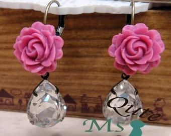 Sparkling rose earrings - raspberry