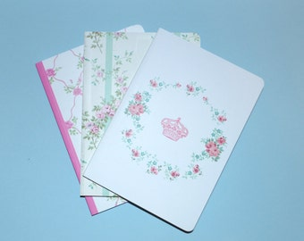 Romantic Roses Pastel Set of 3 Blank Journals Florals Gifts Craft Supplies