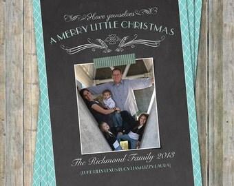 Chalkboard Christmas Card with border, holiday photo card, digital printable file
