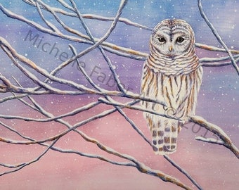 Barred Owl in Watercolor-Print // Owls,birds,feathers,boho,bohemian,winter,sunset,sunrise,pink,purple,animal art,painting,trees,home decor