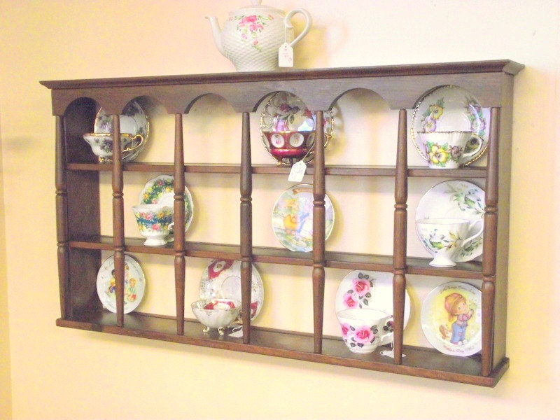 Wood Teacup & Saucer Shelf Curio Wall 3 Tier Display W/
