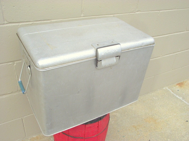 1950s J C Higgins Aluminum Cooler Ice Chest All Metal Mid