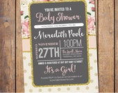 Floral Baby Shower Invitation chic floral Baby Shower Invitation typography pink and gold baby shower Invites, cottage chic (JPD299)