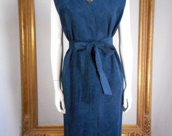Vintage 1970's Navy Blue Faux Suede Sleeveless Dress - Size 16/18