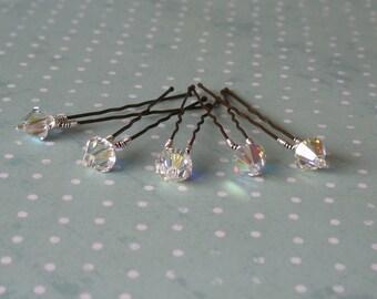 Crystal AB hair pins. Set of 5 pins. Swarovski AB.