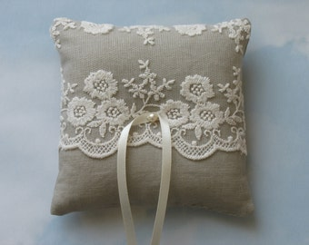 Wedding ring pillow. Cotton linen and lace ring bearer cushion.