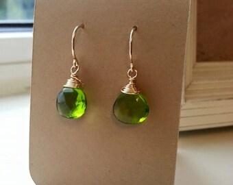 Peridot Green Quartz Earrings