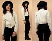 70s early 80s Vtg Fitted White LEATHER Jacket / GLAM Rock N Roll Punk Rock Zip Up Coat / High Collar Minimalist Mod / Xs Petite