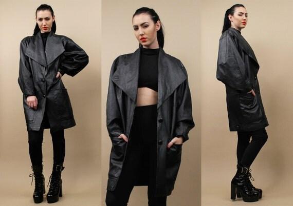 ann es 90 vtg noir futuriste drap veste cuir v ritable cocon. Black Bedroom Furniture Sets. Home Design Ideas