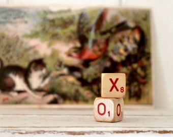 Vintage Letter Cubes XO