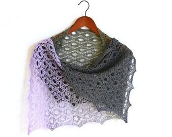 Handknit shawl, knit wrap, knit scarf gradient cotton gray grey lilac lavender, ready to ship