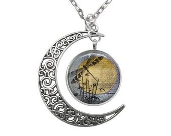 Filigree Moon Pendant Dragonfly and Full Moon Tibetan Silver Necklace