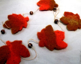 LEAVES-Make your own needle felted leaf garland-complete kit