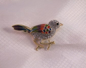 1980's Enameld and Rhinestone Studded Bird Brooch