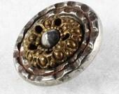 Antique Cut Steel Cup Metal Sewing Button Piecrust Rim Pierced Brass 9/16 inch 14mm