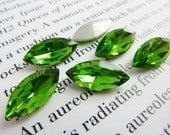 6 glass jewels, 15x7mm, olive green, olivin, navette
