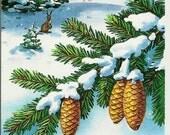 Rabbit, winter, forest, Vintage  Russian Postcard, New Year print 1990 unused