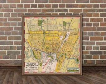 Winnipeg map - Old map of Winnipeg print - Fine archival  wall map