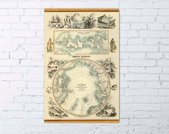 Arctica map - Marvelous map of the  Arctic Regions - Arctic  map - Wellington channel featured