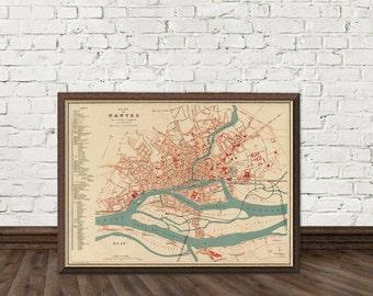 Map of Nantes (France) - Vintage map of Nantes restored - Old map of Nantes print