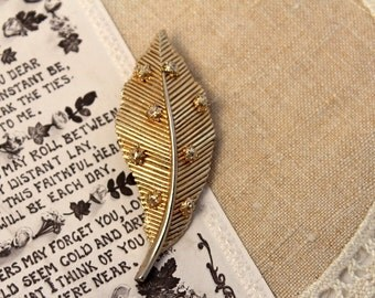 Vintage, Gold Leaf Brooch, Antique, Pin
