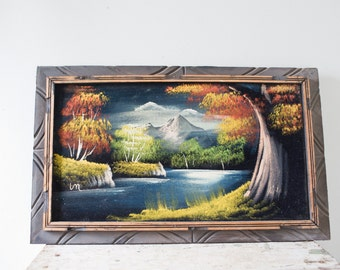 Vintage Mountain Painting - Framed Vintage Nature Artwork Print Vintage Artwork Mountain Nature Frame Wall Hanging Decor
