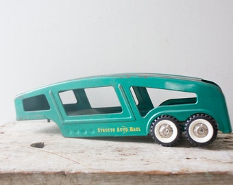 Teal Green Vintage Metal Truck Tractor Trailer Structo Auto Haul Trailer RARE