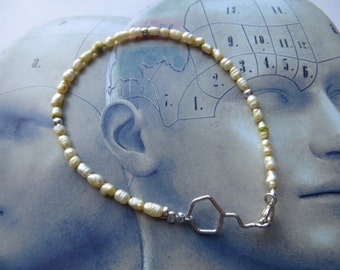 White wine molecule silver bracelet Wild pearls  Molecular jewelry. Toast party Bride wedding love love