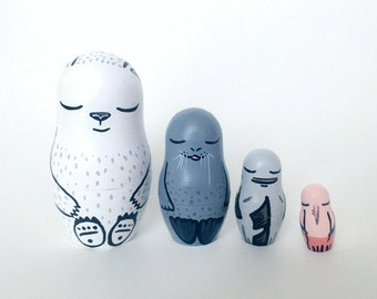 ARCTIC FOOD CHAIN Hand Painted Wood Nesting Doll Set