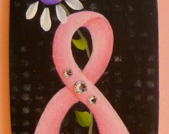 Pink Ribbon Breast Cancer Pin/Magnet Hand Painted Wood