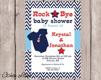 Printable Rock a Bye Baby Shower Invitation.  Rock star baby shower invite.  Baby Shower Invitation. Printable Invitation. Rocker baby.