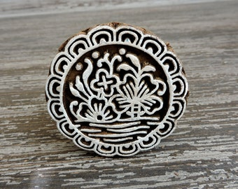 Round Flower Stamp: Indian Hand Carved Wood Printing Block, Ceramics Stamp, Handmade Circle Craft Pottery Textile Stamp, India Decor