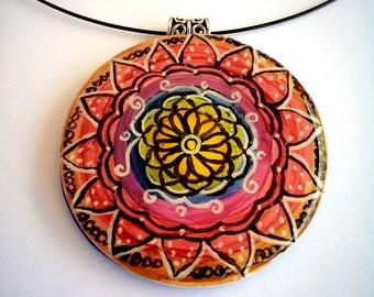 Colorful handpainted Mandala pendant necklace
