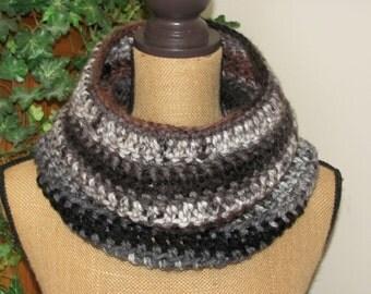 Black/Brown Neck Warmer Cowl Infinity Scarf Super Soft Chunky Men/Women Crochete d Multi Colored Charisma Yarn called Ash Grey/Black/Brown