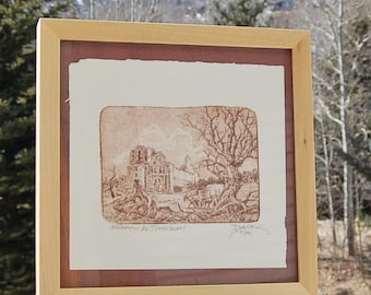 Tumacacori Spanish Mission Print by Roy Purcell Vintage Numbered Signed Limited Edition Intaglio Etching
