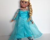 18 Inch Doll Queen Elsa Inspired Gown